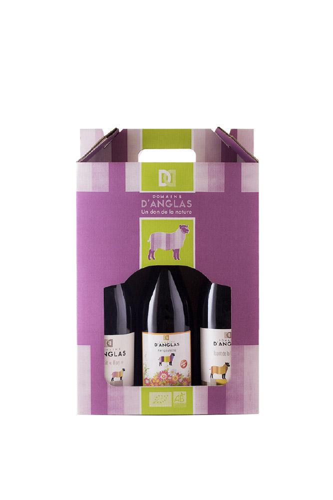 Lot de 3 bouteilles de vin - Coffret découverte du vignoble du Domaine d'Anglas - Achat Vente de vin